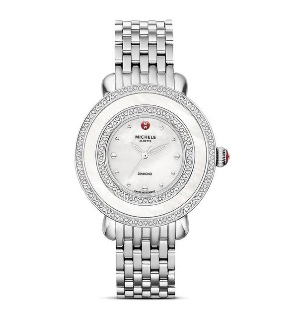 Michele Silver Stainless Steel Cloette Mother Of Pearl Diamond Mww20e000001 Watch Michele Silver Stainless Steel Cloette Mother Of Pearl Diamond Mww20e000001 Watch Image 1