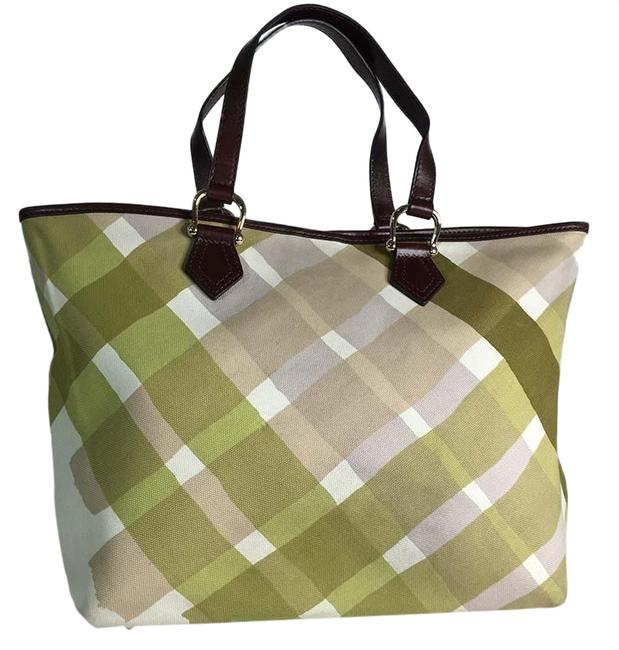 Item - Green Beige White Fabric Large Tote Multicolor Cotton Shoulder Bag