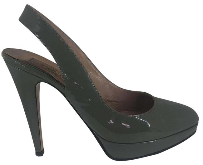 Item - Grey Patent Leather Slingbacks Platforms Size US 7.5 Regular (M, B)
