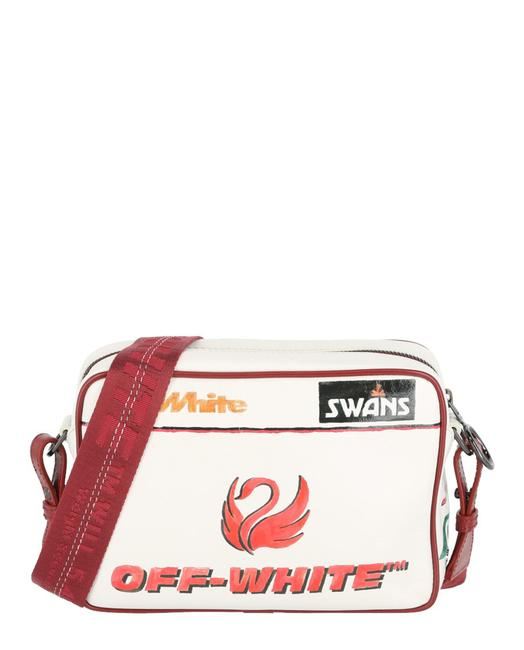 Item - Swan Graphic Print White Calfskin Leather Tote