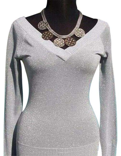 Item - Silver Metallic Double Plunging V Neck New 8/10 M Stretch Blouse Size 8 (M)