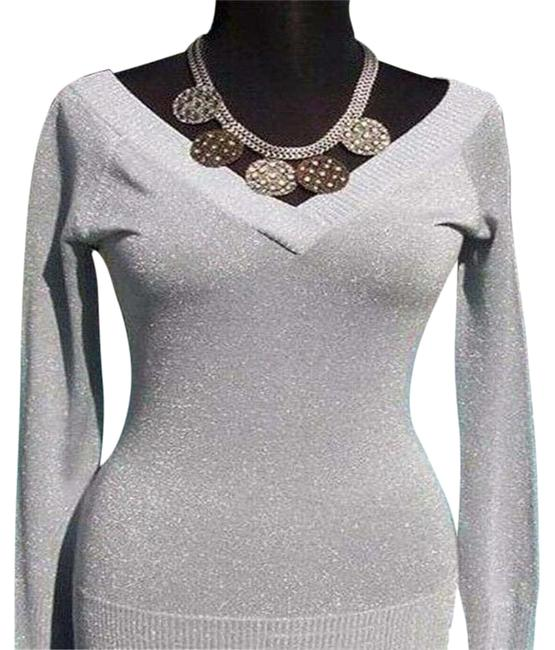 Item - Silver L Metallic Double Plunging V Neck New 10/12 Stretch Blouse Size 12 (L)