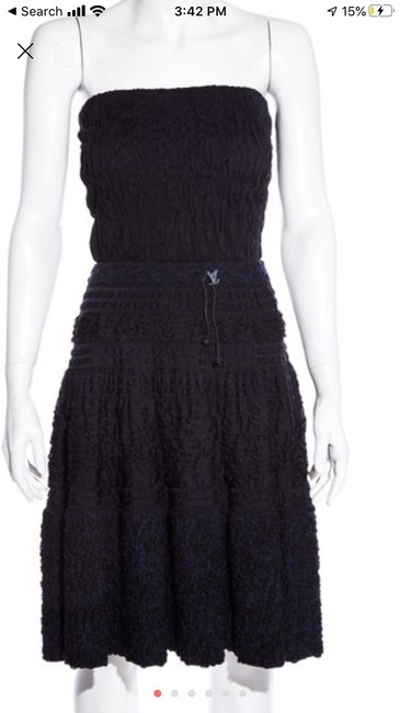 Item - Navy and Black Mid-length Cocktail Dress Size 6 (S)