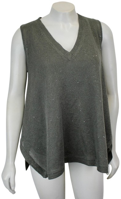 Item - Spa Linen-silk Sequined Small V Neck Green Sweater