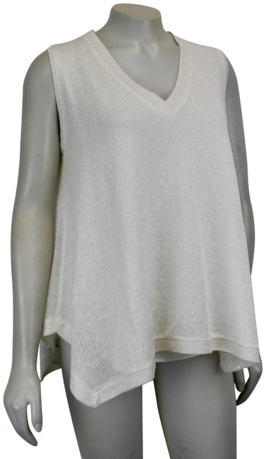 Item - Linen-silk Sequined Small V Neckline White Sweater