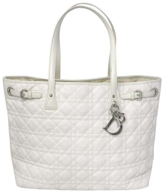 Item - Christian Cannage Quilted Medium Panarea Coated White Canvas Tote