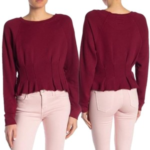 Current/Elliott Pintucked Peplum Raw-hem Crewneck Sweater