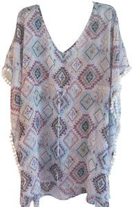 Miken MIKEN SWIM PURPLE AND LIGHT BLUE AZTEC PRINT WHITE POM POM COVERUP
