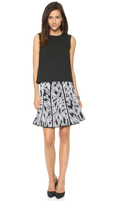 Item - Black and Cream Dvf Samara Panther Lace Skater Fit Flare Skirt Size 2 (XS, 26)