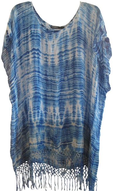 Item - Blue Tie Dye with Fringe Cover-up/Sarong Size OS (one size)