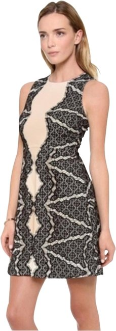Item - Cream Black Dvf Daniella Fit and Flare Lace Detail Mini Short Casual Dress Size 0 (XS)