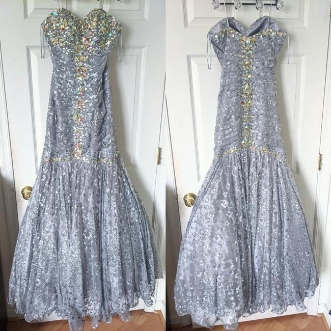 Item - Silver Mermaid Gown Long Formal Dress Size 2 (XS)