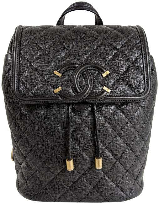 Item - Filigree Quilted Caviar Black Leather Backpack