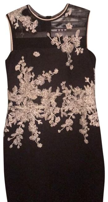 Item - Black with White Embroidery Fitted Mid-length Cocktail Dress Size 14 (L)