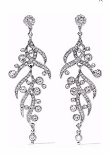 Ben-Amun Silver and Crystals Movable Dangle Earrings