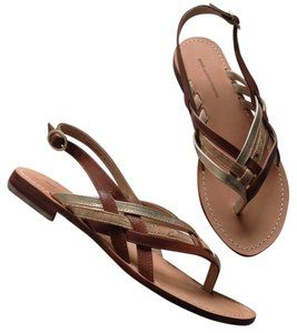 Diane von Furstenberg Leather NEW brown gold Sandals