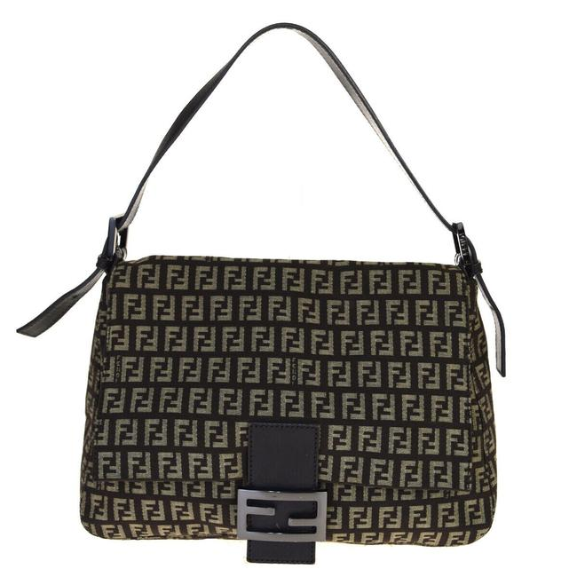 Item - Mamma Zucco Envelope Top Black W Silver Zucchino Print Canvas and Leather Shoulder Bag