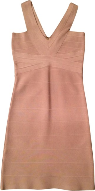 Item - Beige Tapioca Bodycon Bandage Short Cocktail Dress Size 10 (M)