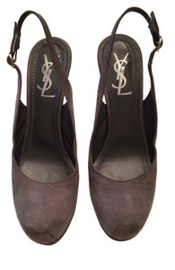 Saint Laurent Suede Slingback gray Pumps