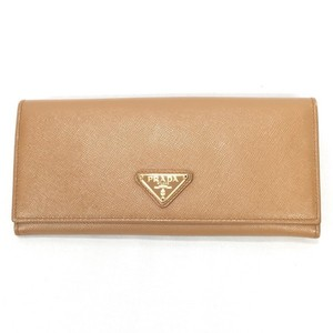 Prada PRADA Prada long wallet Saffiano leather triangle plate accessory beige ladies 675520 RM0668D