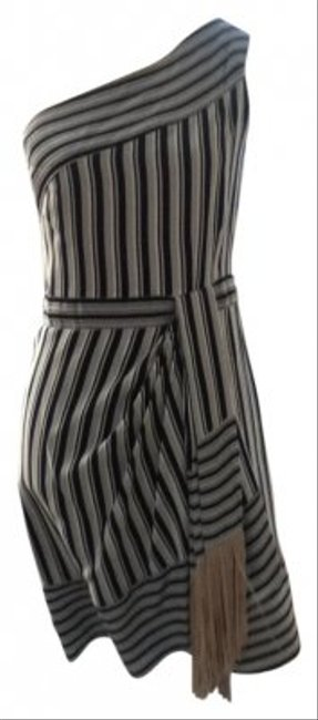 BCBGMAXAZRIA Black/Tan Above Knee Night Out Dress Size 8 (M) Image 0