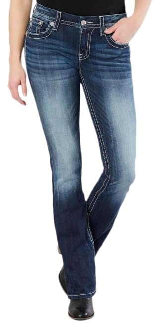 Item - Blue Mid-rise Easy Boot Stretch Skinny Jeans Size 28 (4, S)
