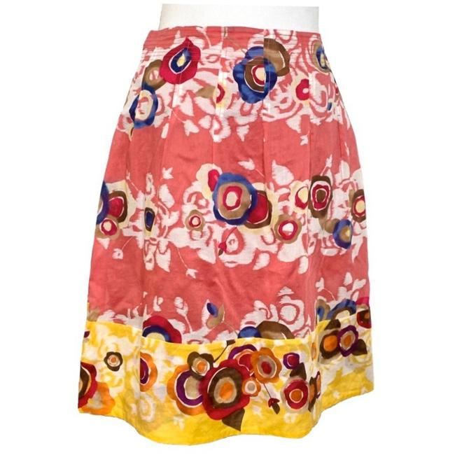 Item - Pink Yellow Boho Floral Watercolor Motif Pleated Skirt Size 10 (M, 31)