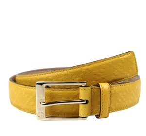 Gucci Yellow Leather Diamante Square Buckle Belt 345658 7011 Groomsman Gift