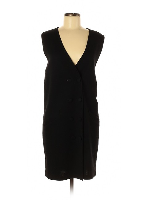 Item - Black Merino Wool Sleeveless Wrap Sweater Short Casual Dress Size 10 (M)