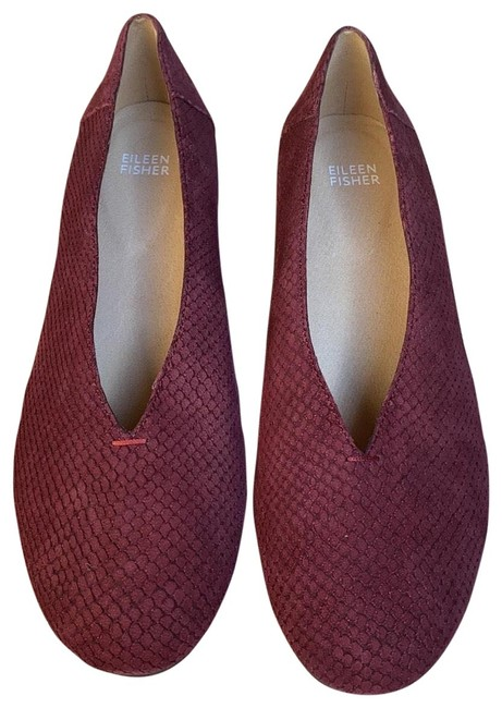 Item - Burgundy Patch Embossed Suede Wedge Flats Size US 9.5 Regular (M, B)