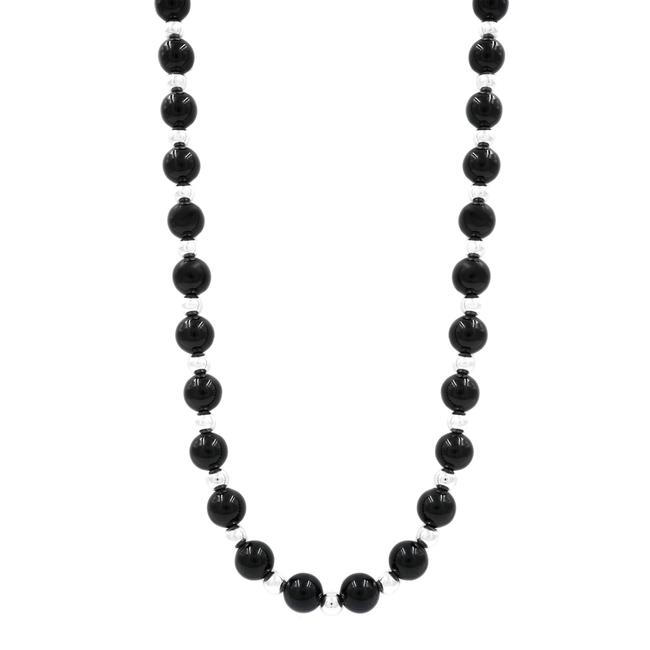 Item - Black Vintage Sterling Silver Onyx Bead 31in Necklace