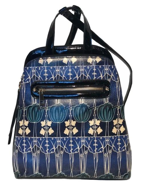 Item - Katrina Blue White and Black Coated Canvas /Patent Leather Backpack