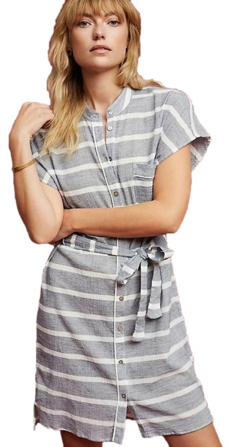 Item - New Gray and White Corey Lynn Calter Camden & Striped Shirt-dress Short Casual Dress Size 2 (XS)