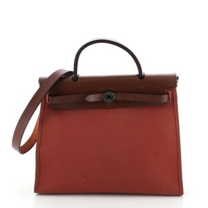 Hermes Canvas Leather Tote in Red