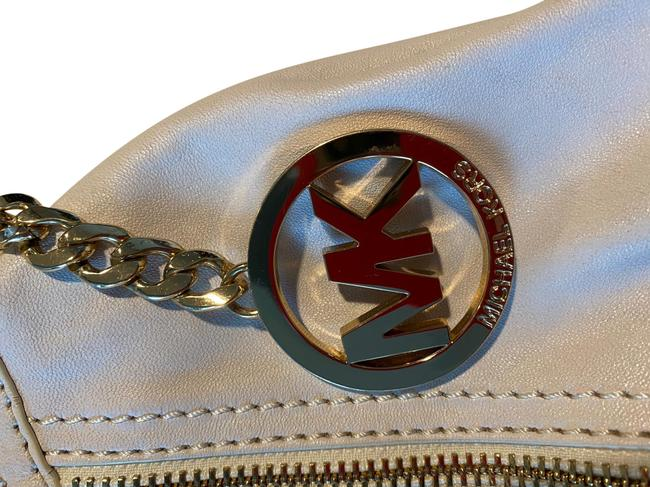 Item - White and Gold Leather Hobo Bag
