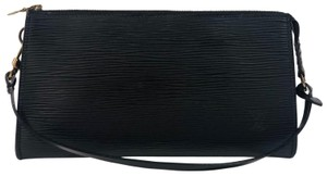 Louis Vuitton Pouchette Accessorie Epi Leather Pouch Wristlet in Black