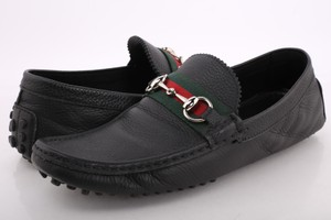 Gucci Black Men's Leather Drivers with Web Shoes