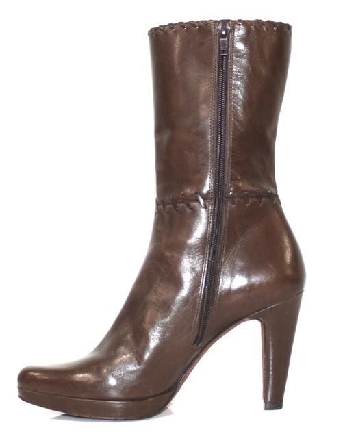 Item - Brown Leather Mid-calf Boots/Booties Size US 7 Regular (M, B)