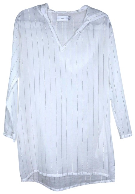 Item - Gold White Striped Hooded Dress Cover-up/Sarong Size 0 (XS)