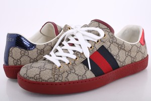 Gucci Beige Gg Supreme Canvas Ace Sneakers with Red Soles Shoes