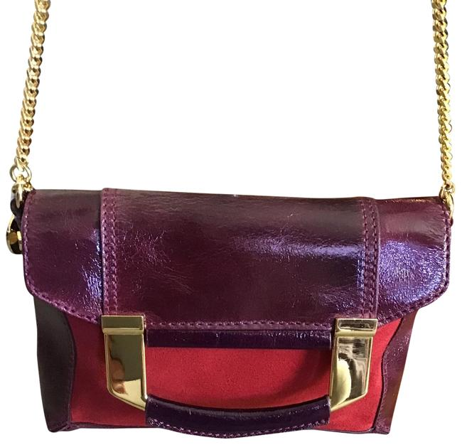 Item - Mini Red Burgundy Patent Leather and Suede /Patent Cross Body Bag