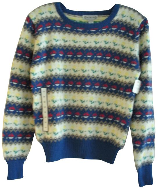 Preload https://img-static.tradesy.com/item/27244509/ladies-size-m-blue-multi-pattern-on-white-crew-neck-by-multi-color-sweater-0-1-650-650.jpg