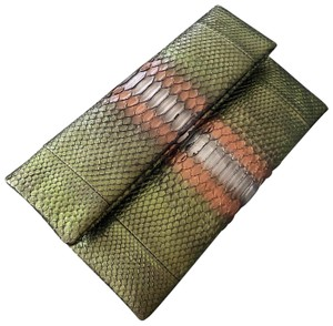 Cacharel green, brown, silver Clutch