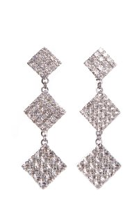 Alessandra Rich ALESSANDRA RICH Square Crystal Three Tier Clip-On Earrings