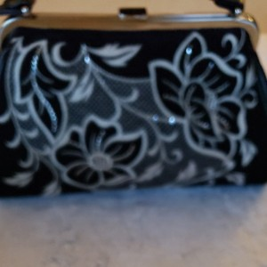 Isabella Fiore Satchel in Black with white and glitter design