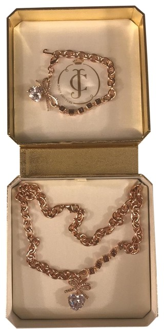 Item - Rose Gold & Crystal Pave Bow and Heart Charm Necklace and Bracelet Gift Set