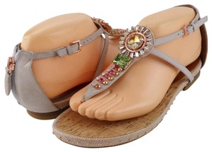 Boutique 9 Leather Ankle Flat Comfortable Jeweled Grey Sandals