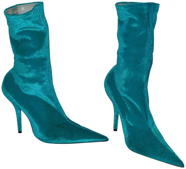 Item - Turquoise Knife Velvet Velours Ankle Heels Boots/Booties Size EU 38 (Approx. US 8) Regular (M, B)