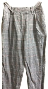 Topshop Trouser Pants gray with navy blue and maroon multi-stripes
