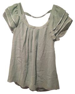 Elena Solano Silk Ruffle Top Mint
